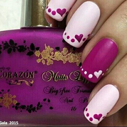 Pink Hearts Nails 💗 perfect for Valentine's Day - Http://www.jexshop.com/ Pink.Hearts Nails ❤ #slimmingbodyshapers