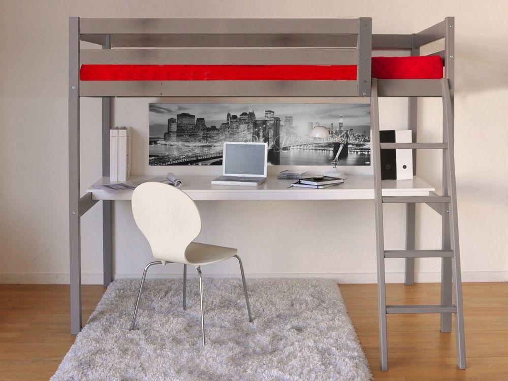 Lit mezzanine cm bureau sommier en bois colorado