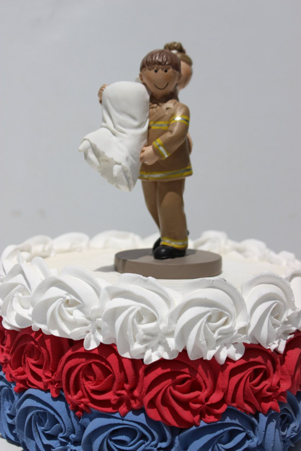 Fireman Firefighter Rescue Carry Bride Wedding Cake Topper Fire Dept ...