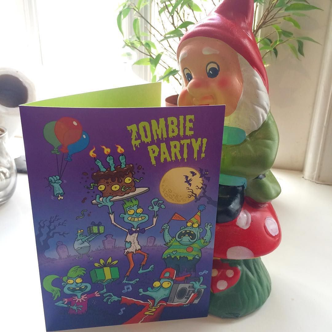 Gnomes love my Zombies. @peaceable_kingdom #zombies #illustration #characterdesign #cartoon #greetingcards