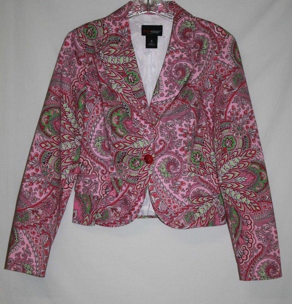 Pantology Misses 6 Jacket Career Blazer Pink Green Paisley