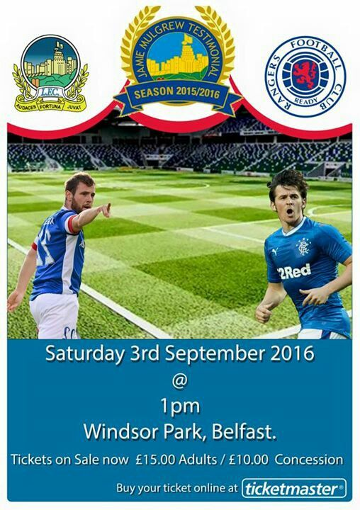 Linfield 0 Rangers 7 in Sept 2016 at Windsor Park. The ...
