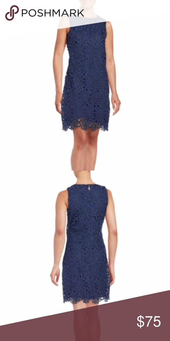 703790cf098 Karl Lagerfeld Lace Overlay Sheath Dress Sz 16 This navy blue dress has  floral lace shapes and a classic round neck with concealed back zipper  closure ...