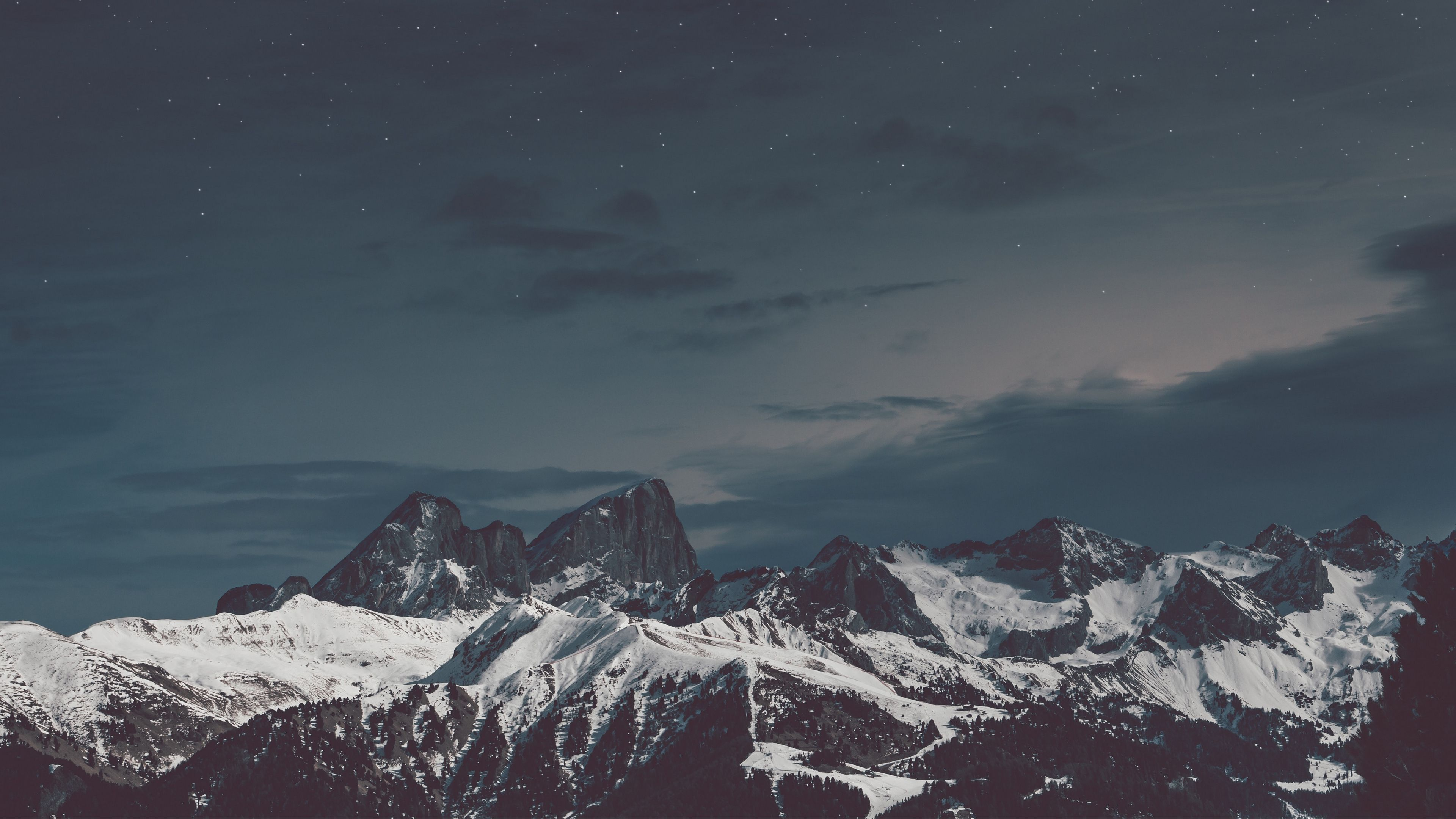Mountains Snow Sky Night 4k Snow Sky Mountains Wallpaper Pc Landscape Wallpaper Best Wallpapers Android