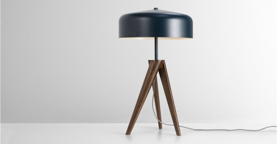 Madison Table Lamp Navy Blue And Dark Wood Made Com Lamp Dark Wood Table Lamp