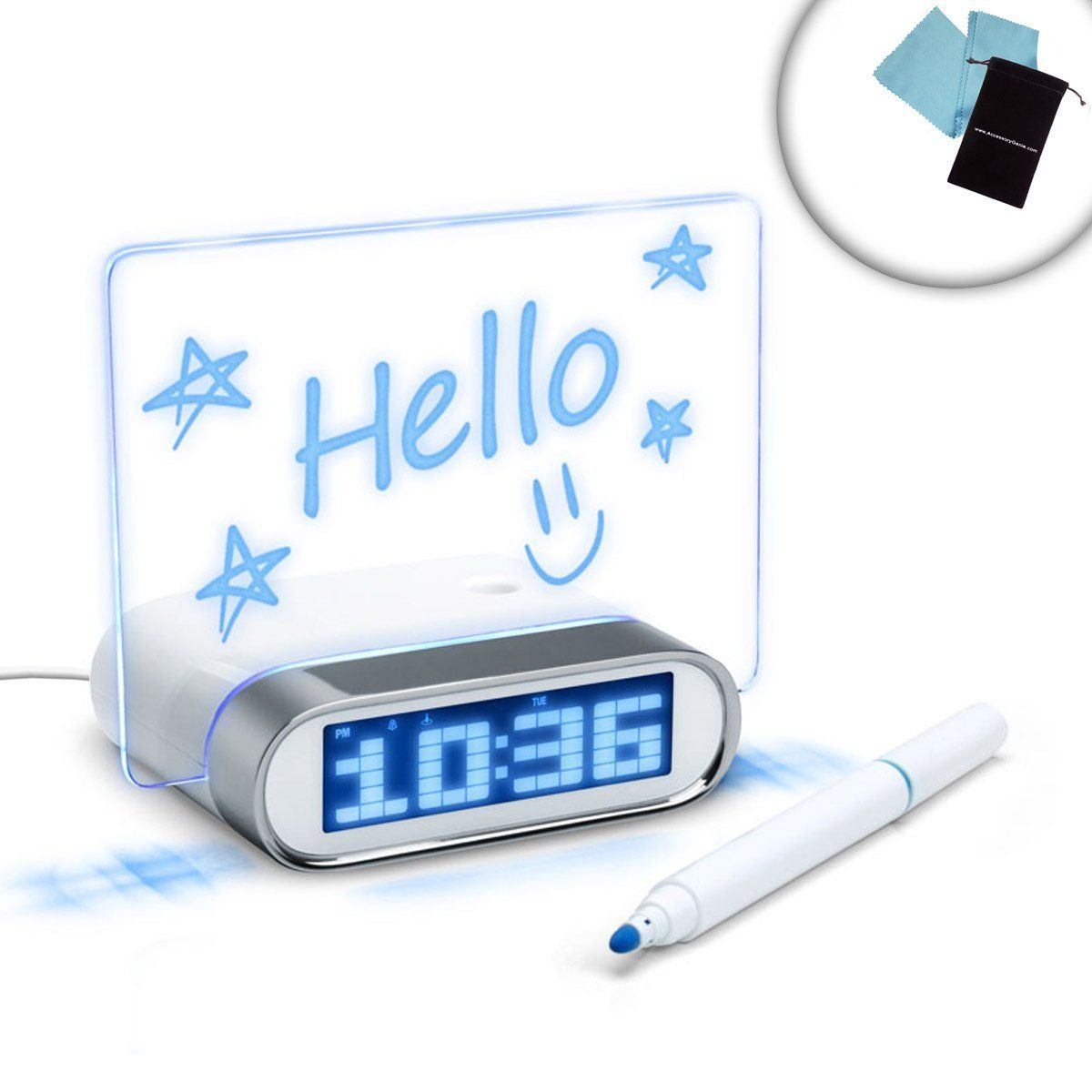 Enhance Glowing Memo Alarm Clock With 4 Port Usb 2 0 Hub Blue Led Time Date Temperature Display Works With Apple S With Images Alarm Clock Clock Computer Accessories