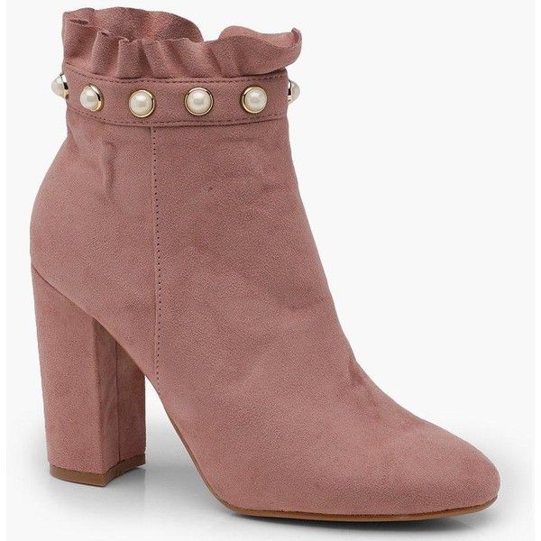 d6f9a9b960 Boohoo Martha Frill and Pearl Trim Sock Boot ($35) ❤ liked on Polyvore  featuring