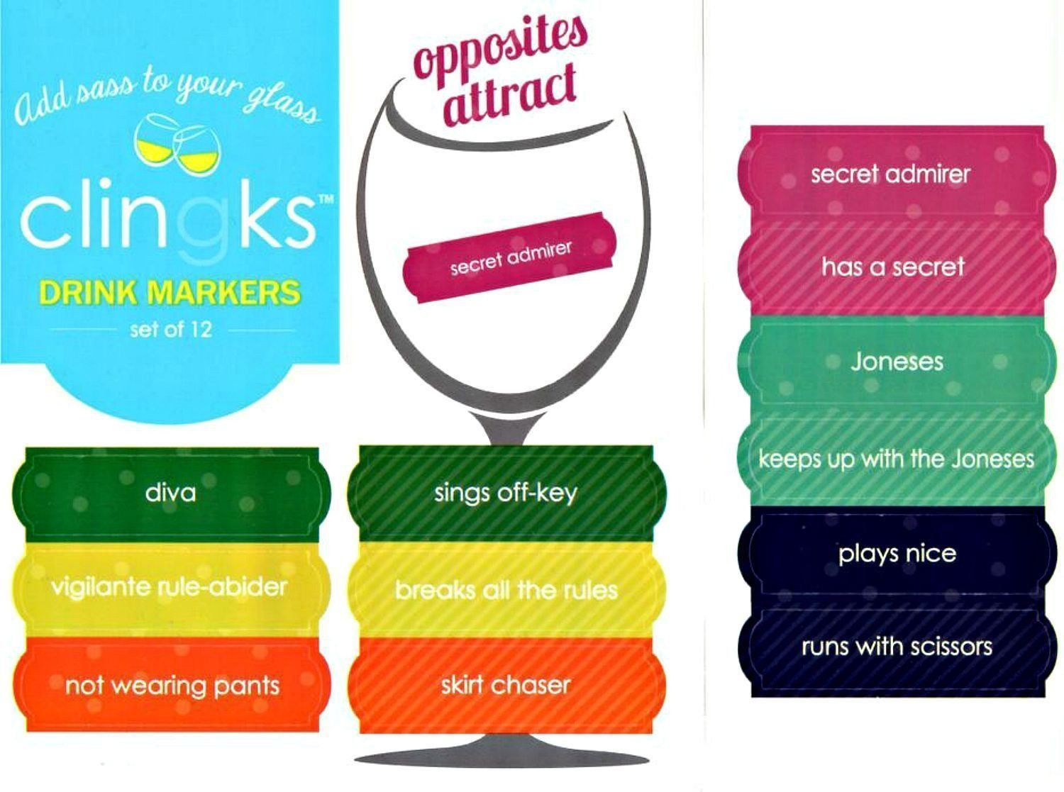 Clingks 12 Drink Markers Opposites Attract Fun Alternative to Wine Charms
