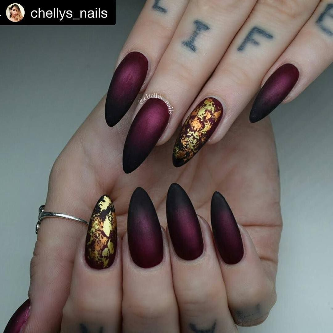 Burgundy matte nails with metallic foil accent nails by ...