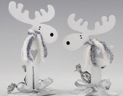 Originales renos de madera en color blanco para decorar o for Adornos originales para navidad