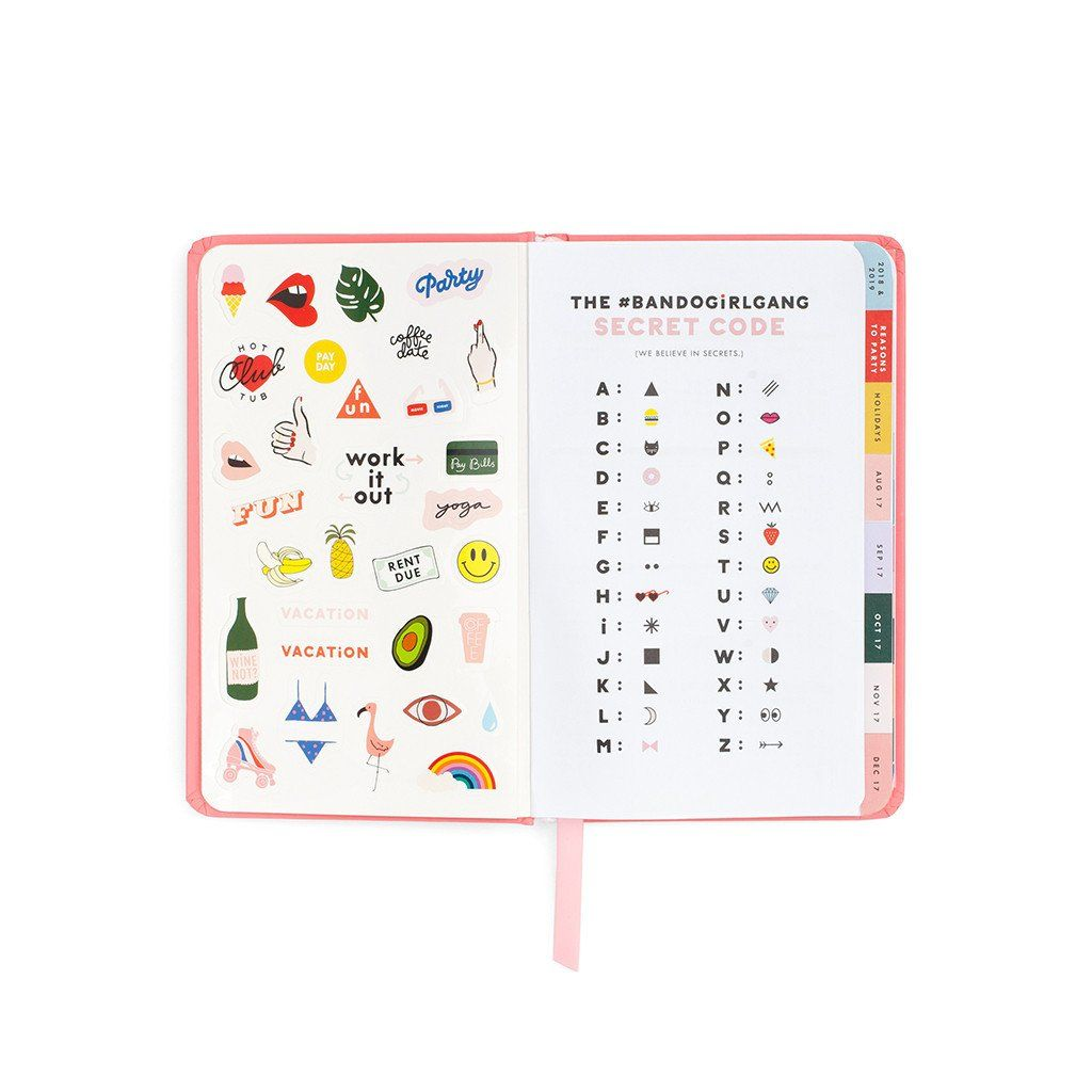 6c14e8cf75cf48 Ban.do 17 Month Agenda 2017-2018 / Rose Parade with cute planner  illustrations and stickers