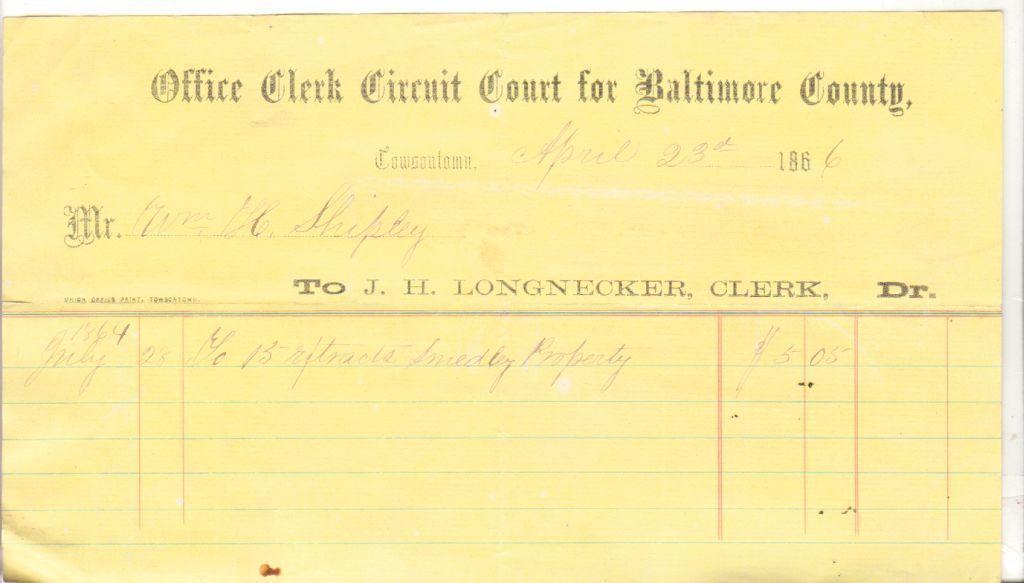 1866 Invoice Billing Letterhead Office Clerk Circuit Court of - invoice billing