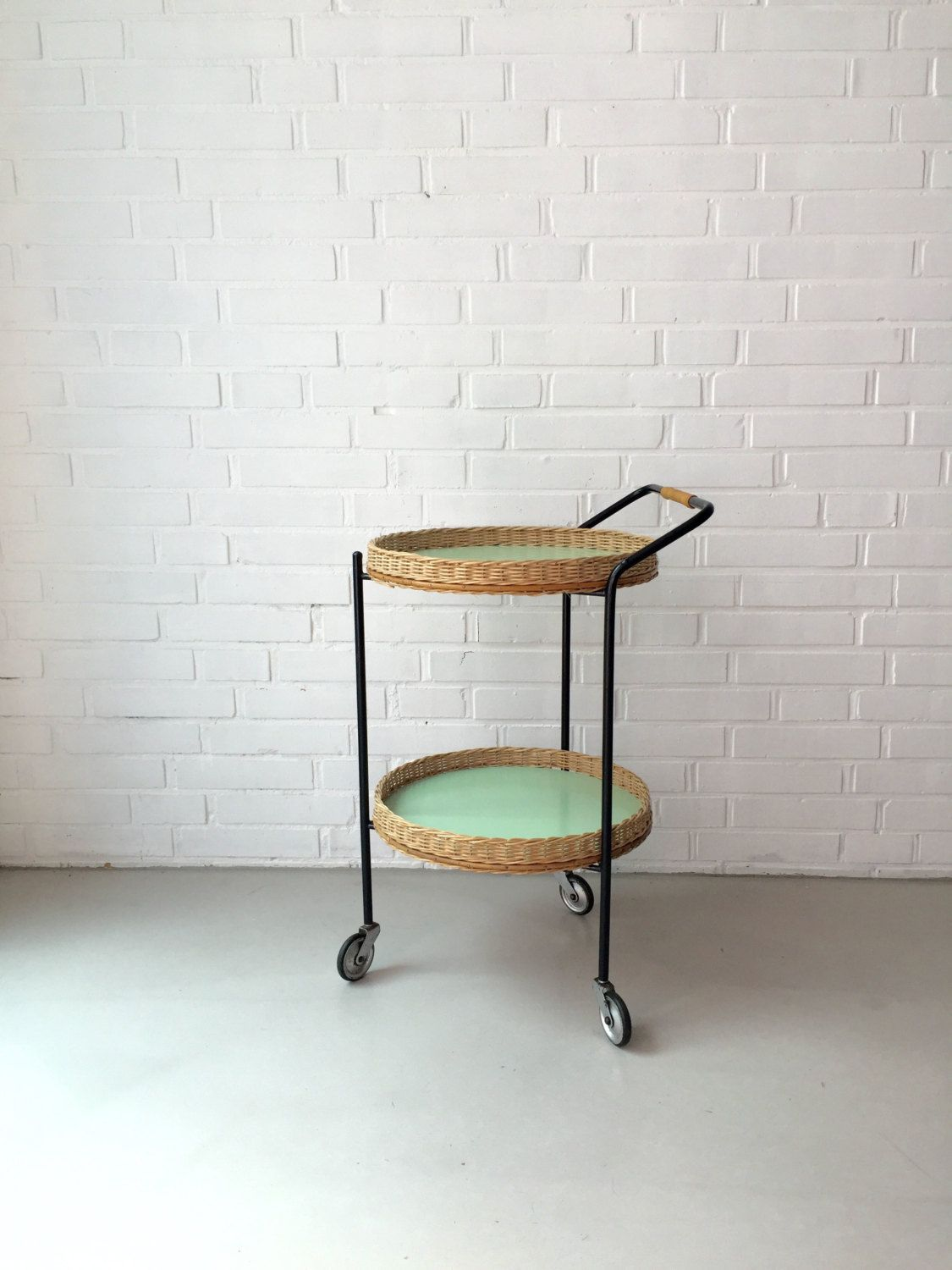 Teewagen Rund Vintage Small Table Rattan Table Tea Trolley Side Table Mid