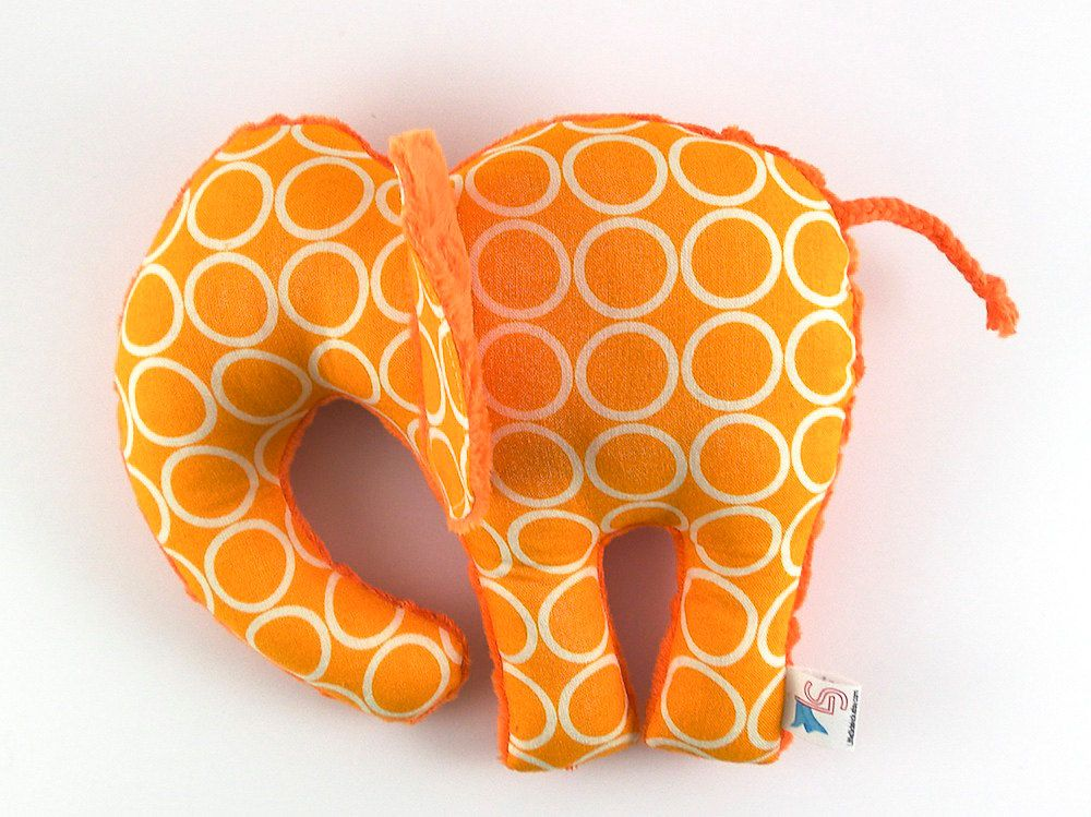 Elephant Plush Toy Handmade Stuffed Animal Tangerine Orange Minky