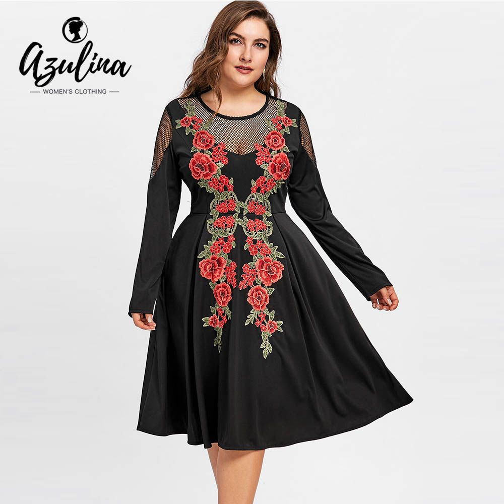 a3600ead230 Plus Size Fishnet Panel Swing Embroidery Dress Women Long Sleeves O Neck  Ladies Dresses Vestidos Big