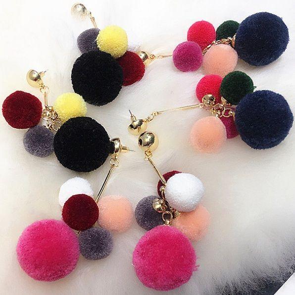 2016 Moda Coreano New Colorful Multi-Pom Pom Grandi Orecchini di Goccia Lunghi Brincos Per Le Donne di Buona Qualità ED081