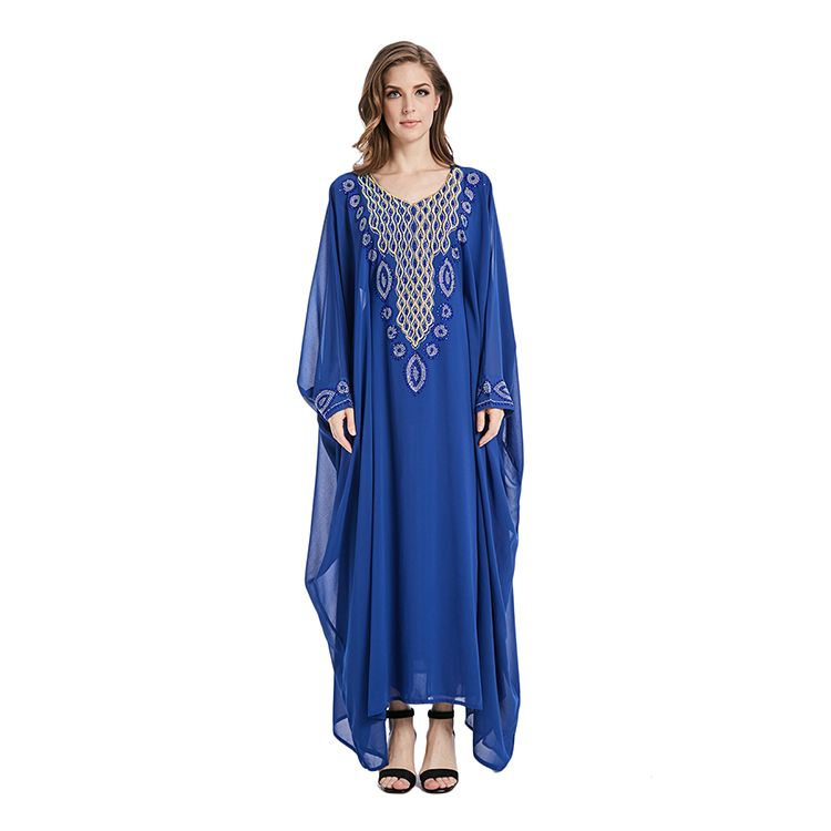 82f1282fe2 2018 Latest Dubai Kaftan Large Chiffon Diamond Blue Fashion Women India  Arabic Jalabia Kaftan