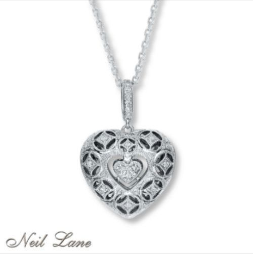 NWT NEIL LANE 925 15ct Diamond Heart Necklace Jared RETIRED