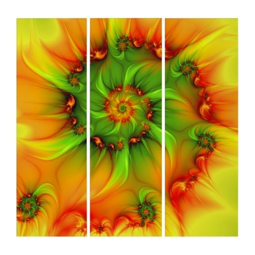 On A Hot Summer Day Abstract And Colorful Fractal Triptych