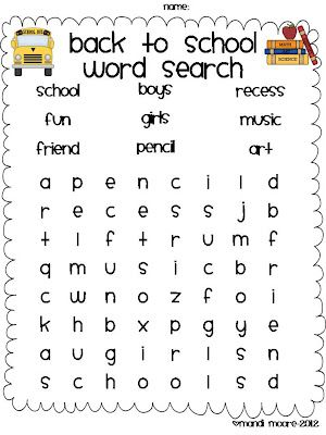FREE Back to School Word search from MOORE Fun In