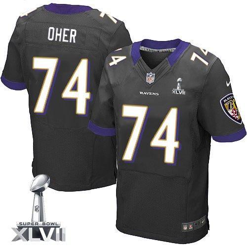 Mens Nike Baltimore Ravens  74 Michael Oher Elite Black Alternate Super  Bowl XLVII NFL Jersey 31b272280