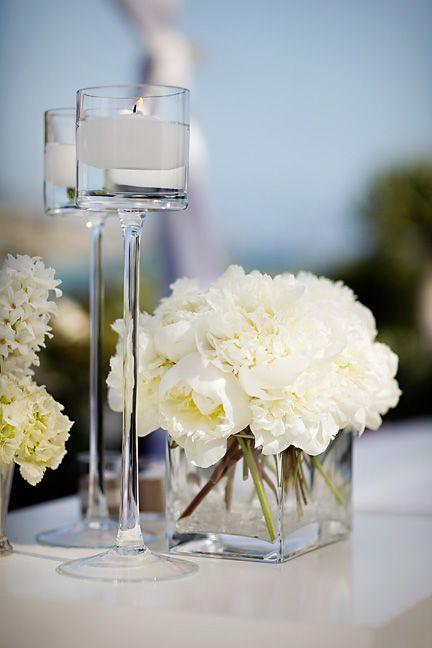 White Wedding At Montage Laguna Beach By Jasmine Star Wedding Centerpieces Square Vase Wedding Candles