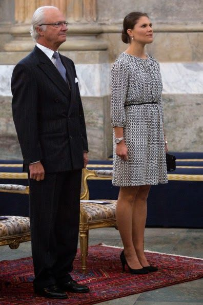 Swedish King Carl Gustaf and Crown Princess Victoria attend Kammarkollegiet's 475th Anniversary Celebrations 2014 at the Hall of State in the Royal Palace in Stockholm, Sweden. Sept 9, 2014.