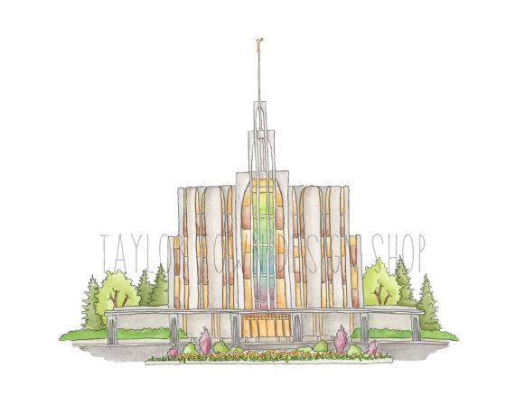 Digital Download Seattle Washington Temple Watercolor
