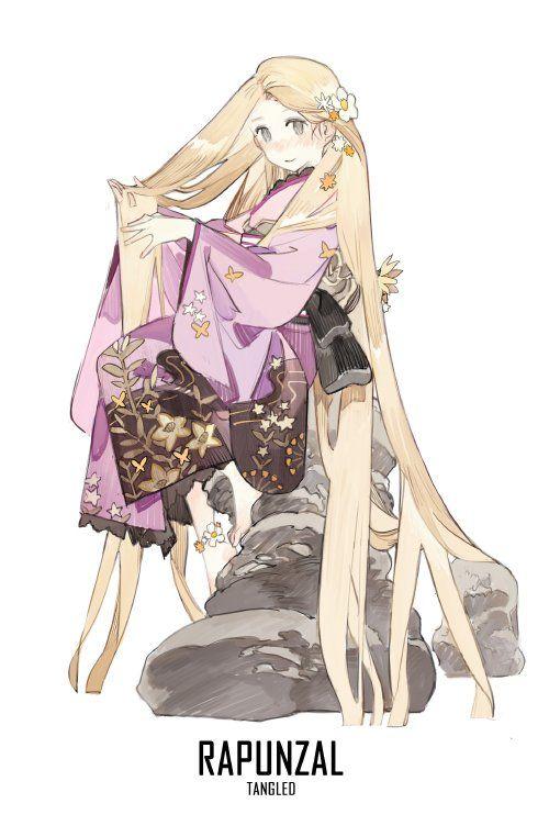 @STARshadowmagic Kimono Disney Princess Fanart - Rapunzel