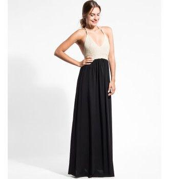 b6952465a531 Μάξι Φόρεμα με Πλεκτό Μπούστο - Μαύρο