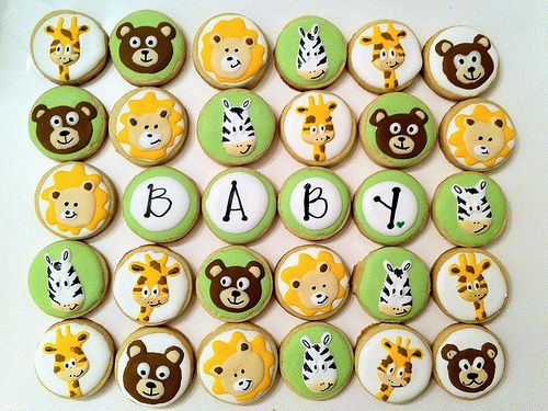 baby shower animal cookie cupcake toppers by cookies by stephanie