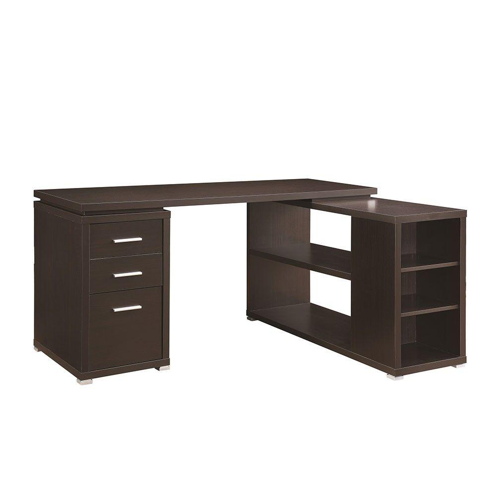 Parson Corner Desk With Shelving Unit Dark Brown L