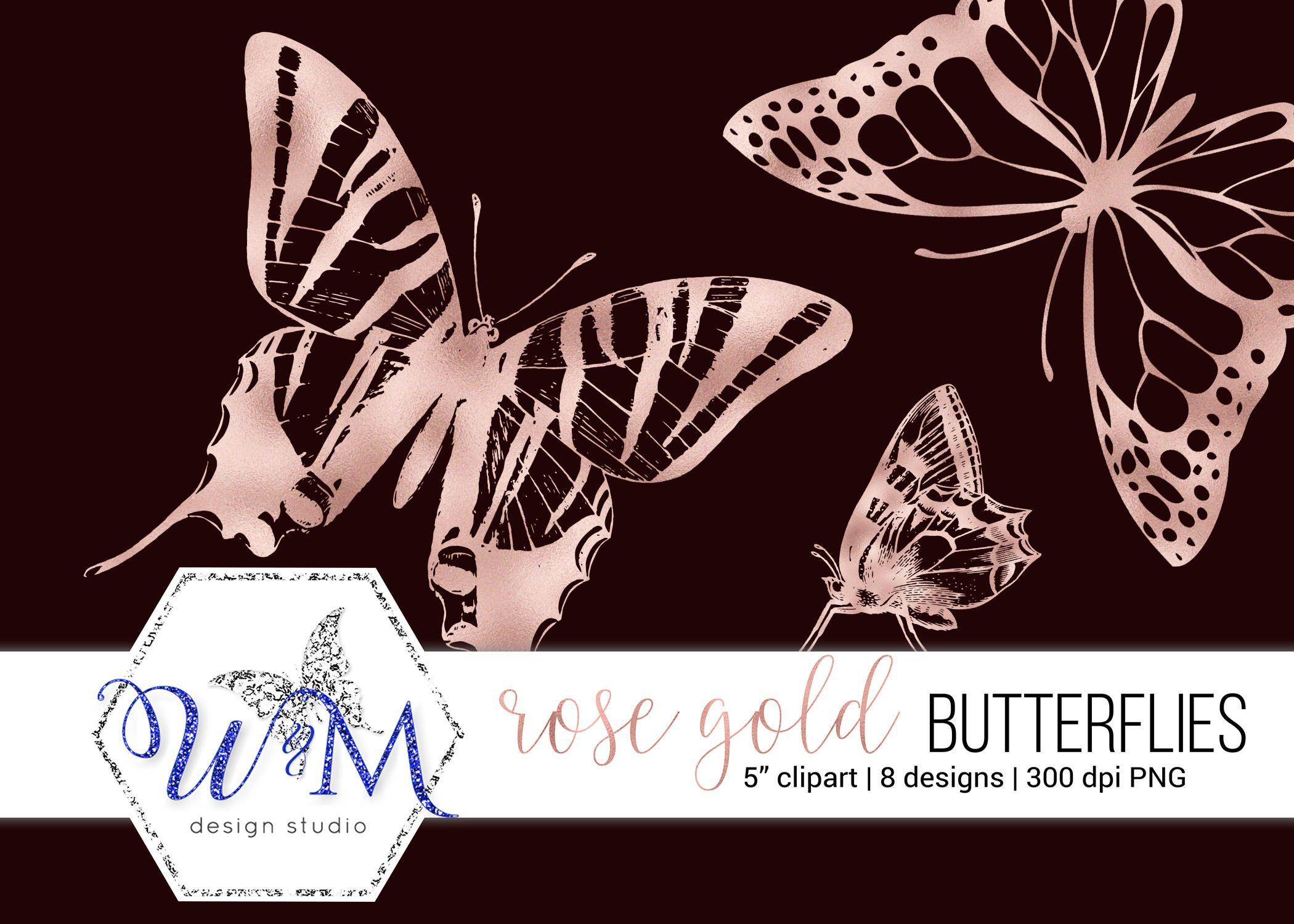 Rose Gold Butterfly Clipart Rose Gold Butterflies Png Etsy Butterfly Clip Art Rose Gold Butterfly Clip Art