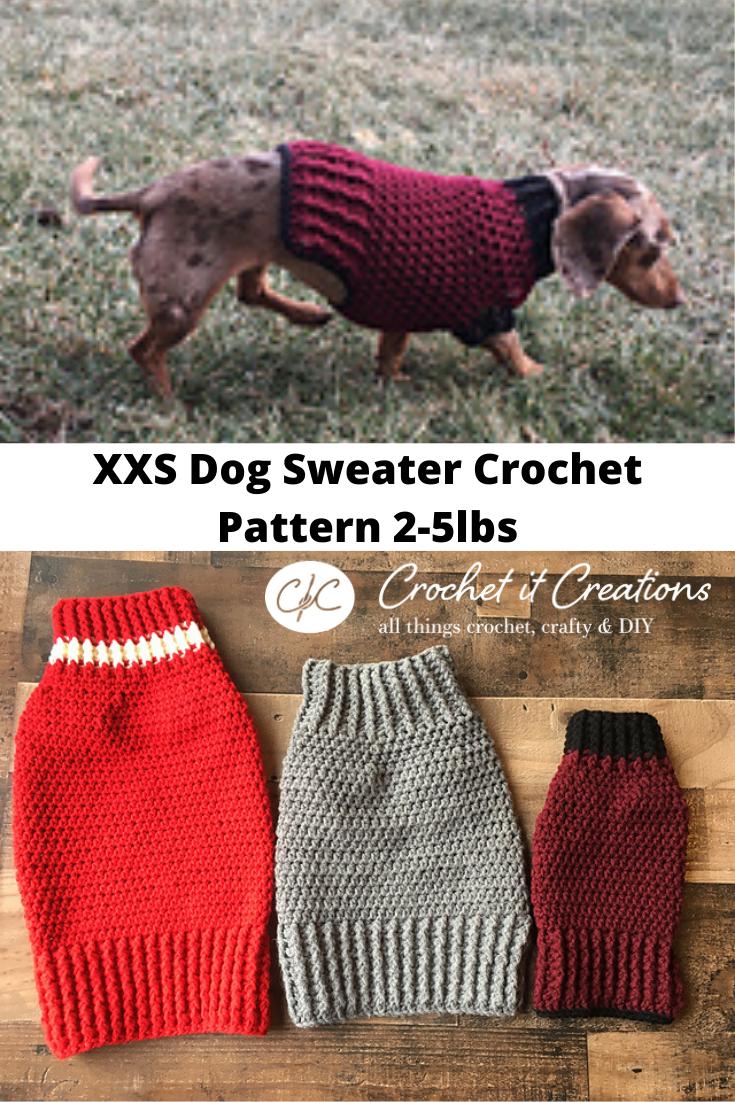 Free Crochet Small Dog Sweater Pattern - Crochet it Creations