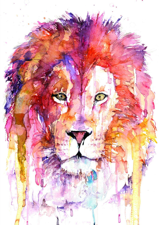 Original Lion Watercolor Art Peintures A L Aquarelle Faciles L