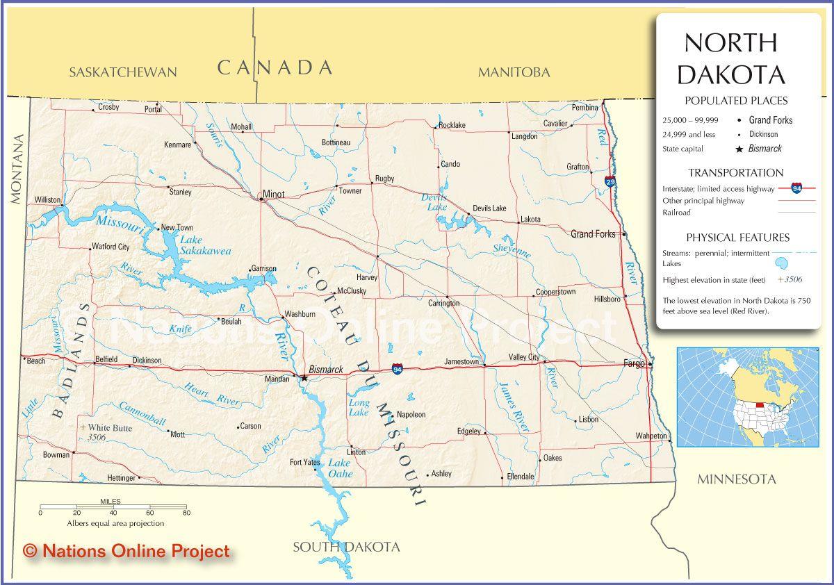 maps of north dakota | Reference Map of North Dakota, USA ...