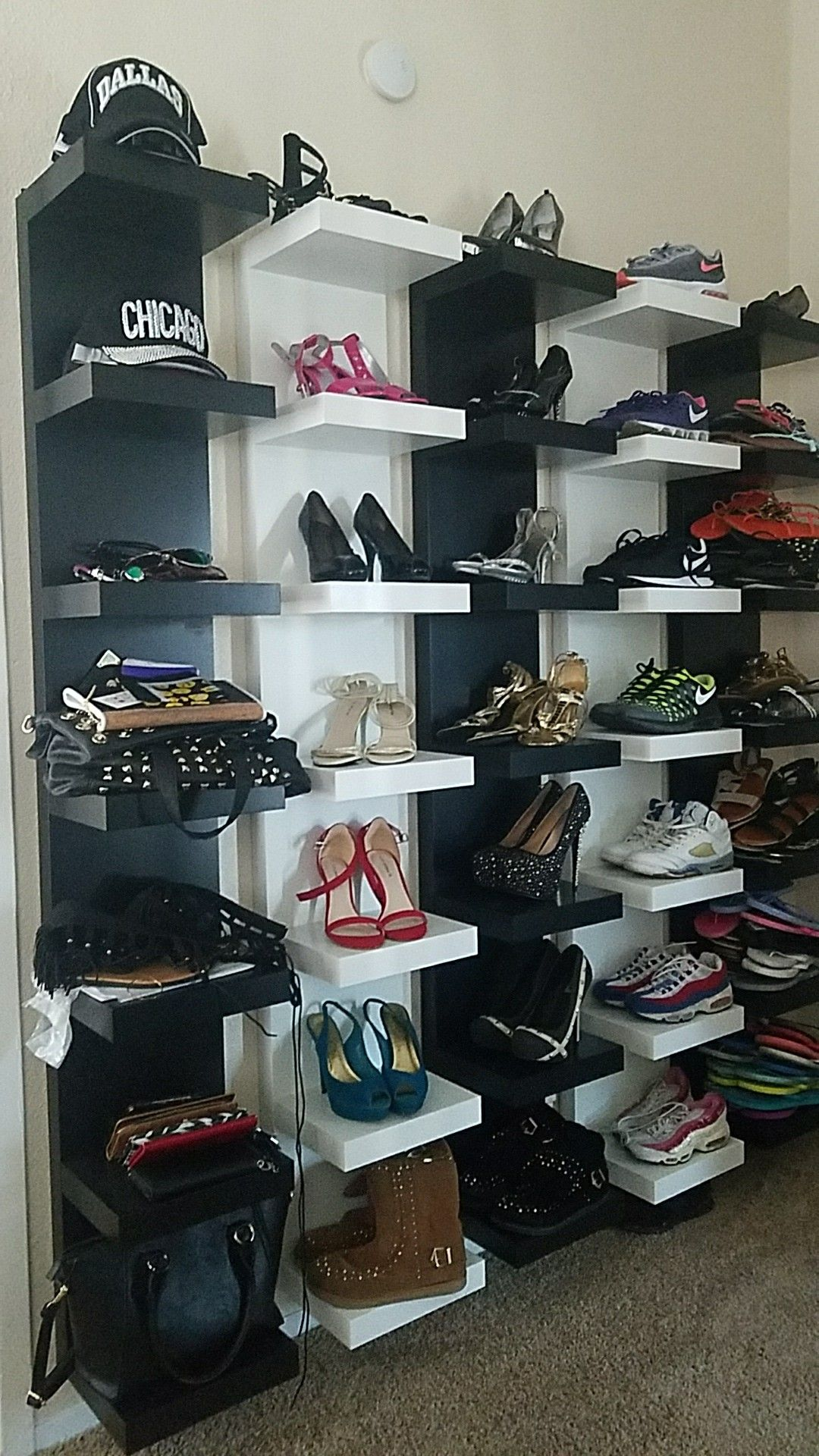 Lack Wall Shelves For All Shoes And Accessories Diy Shoe Rack Shoe Rack Garage Shoe Rack