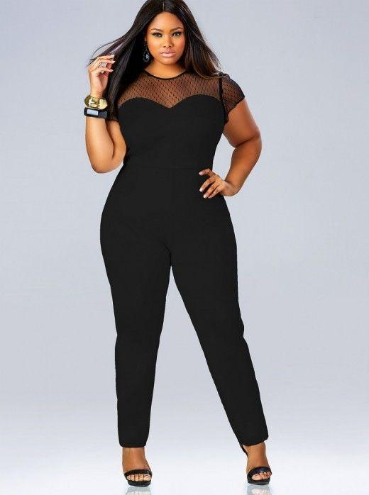 "93f86ab912d Sienna"" Mesh Sweetheart Jumpsuit – Black (Plus Size)"