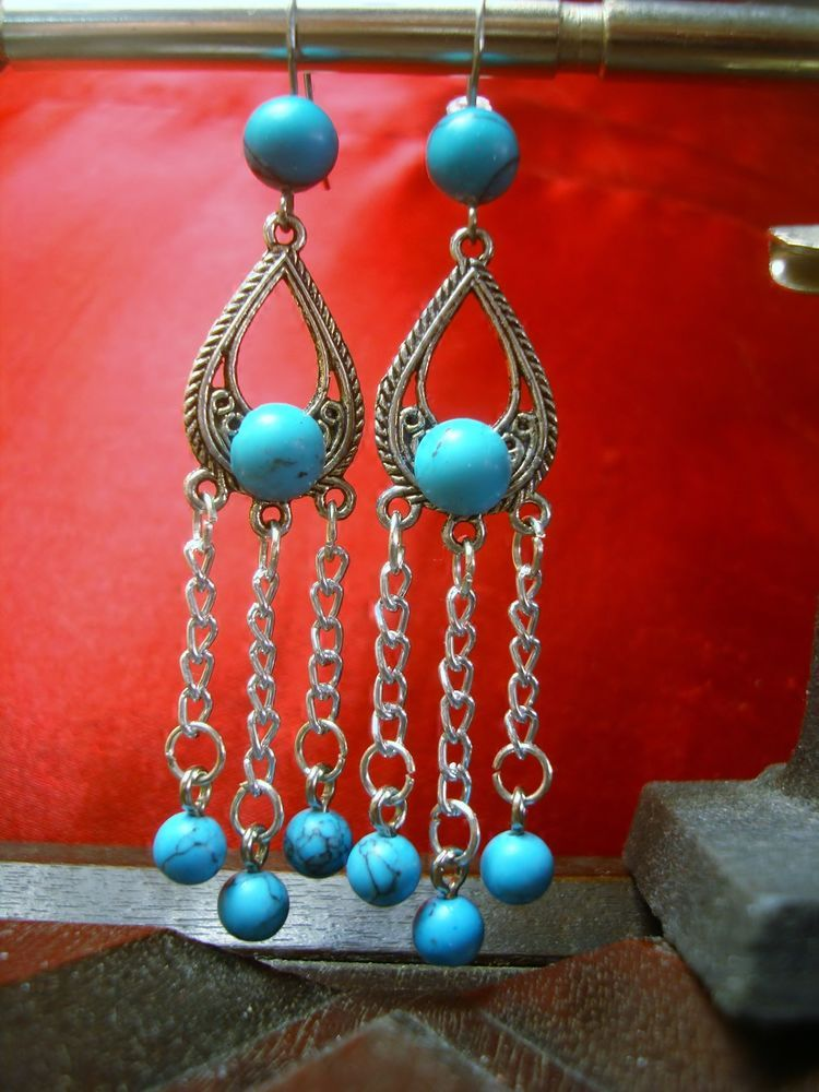 Native American Turquoise Chain Earrings. $14.49 Click pic for info.