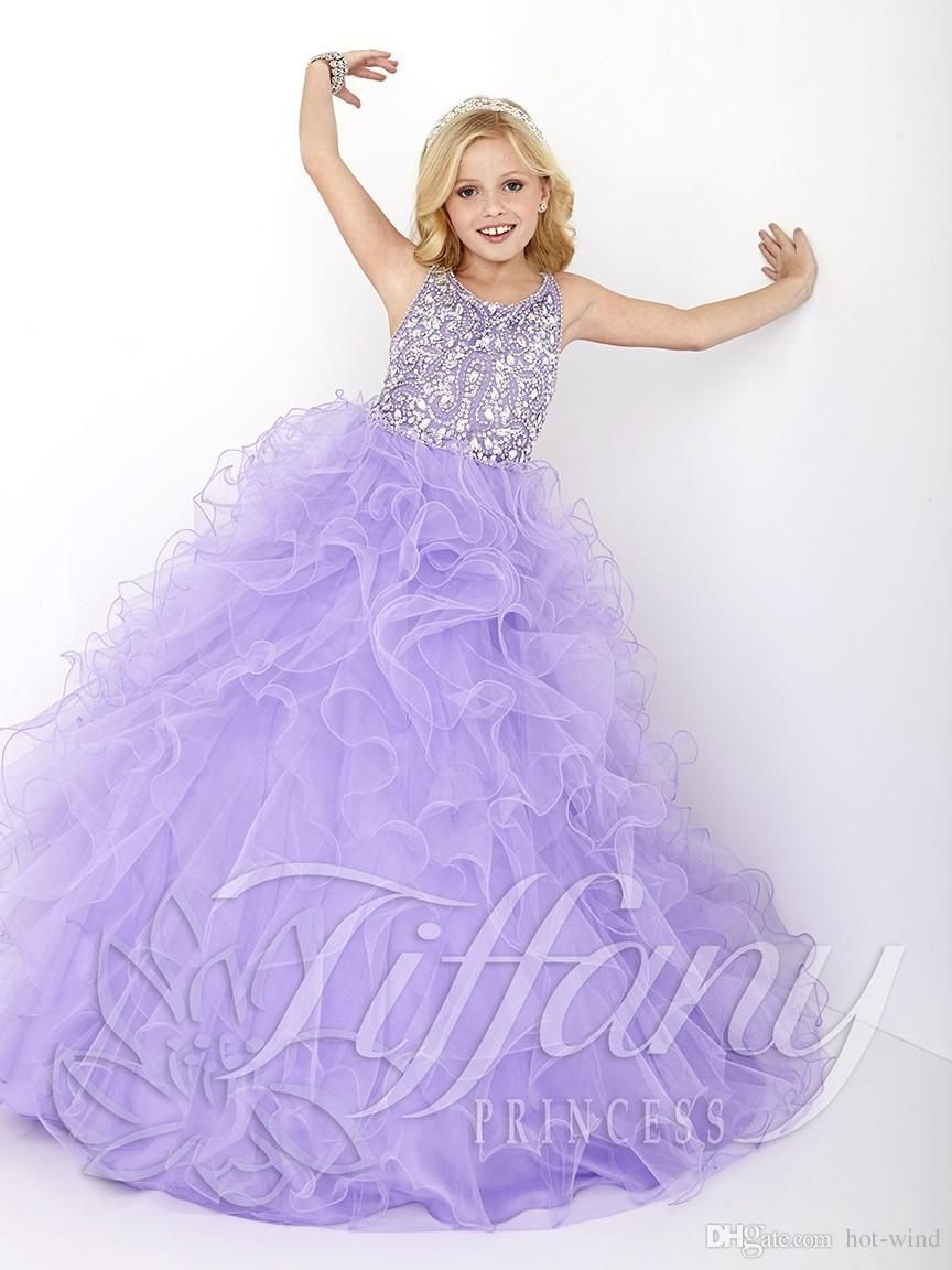 New 2016 Cheap Little Girls Pageant Dresses Lilac Organza Tiered ...