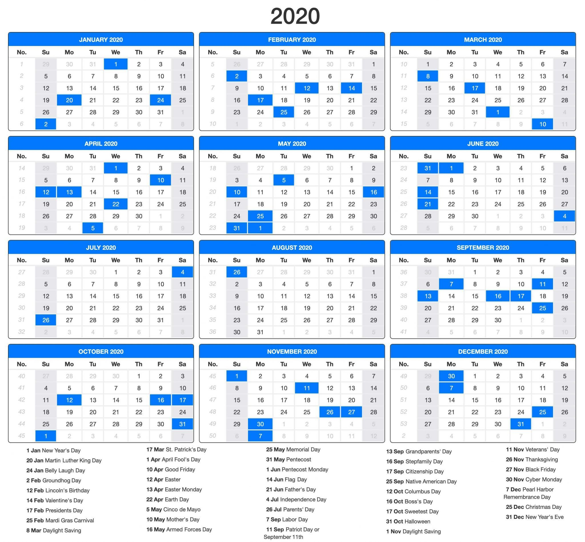 Free Printable Calendar 2020 With Holidays PDF, Word