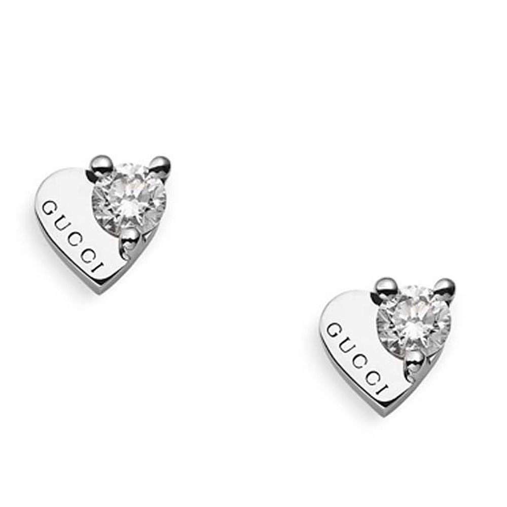 d53e89212 Valentine's Gifts - Gucci 18ct White Gold 0.362ct Diamond Trademark Heart  Earrings