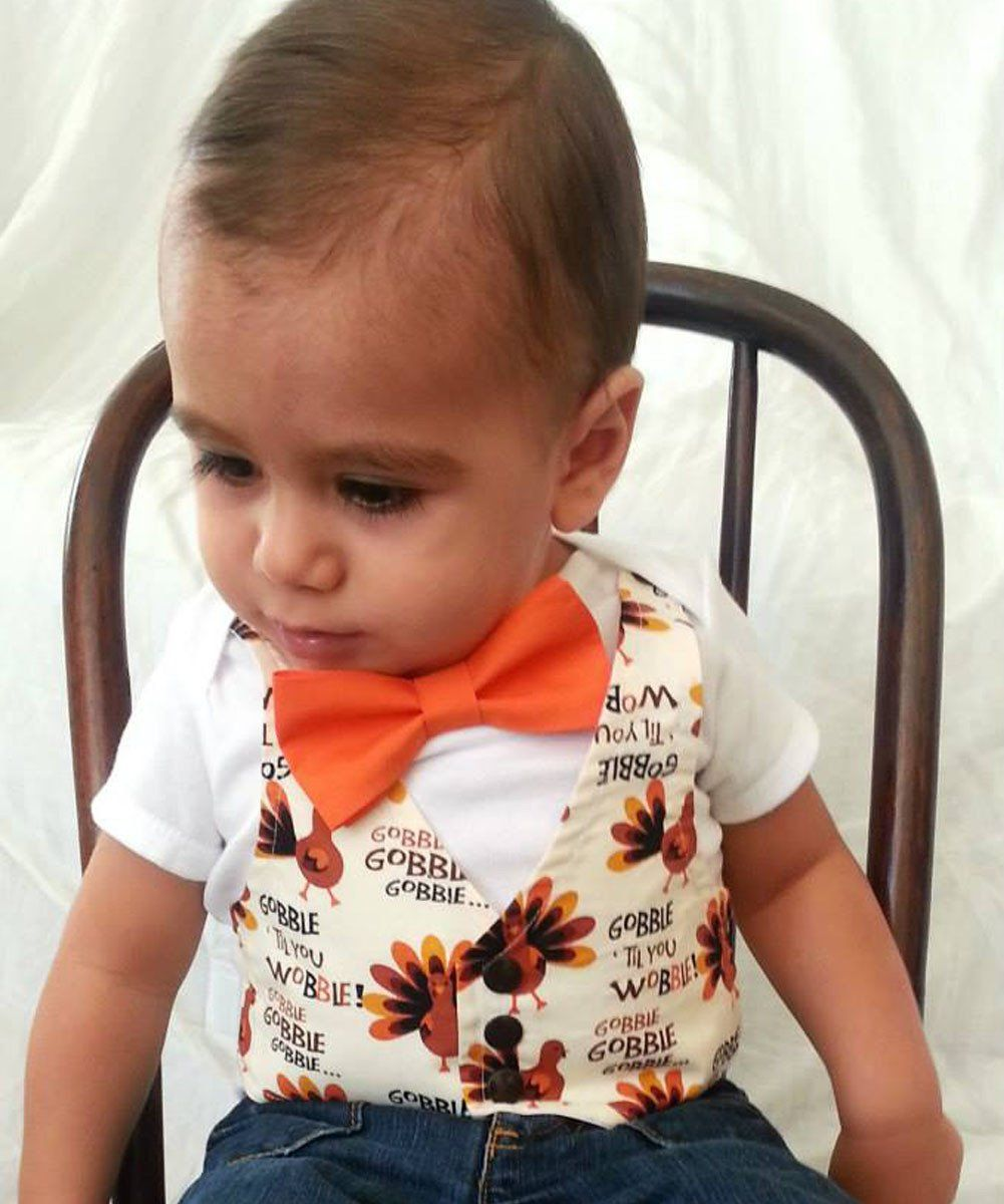 b23796f7e Thanksgiving Outfit for Baby Boy Gobble Till You Wobble Vest Bow Tie –  Noah's Boytique