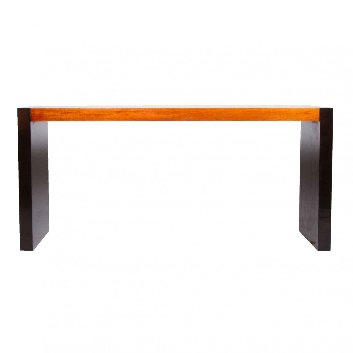 Fabulous Large Modern Console Table w/Charcoal Lacquered Legs and Amber Wood Top at DecorNYC