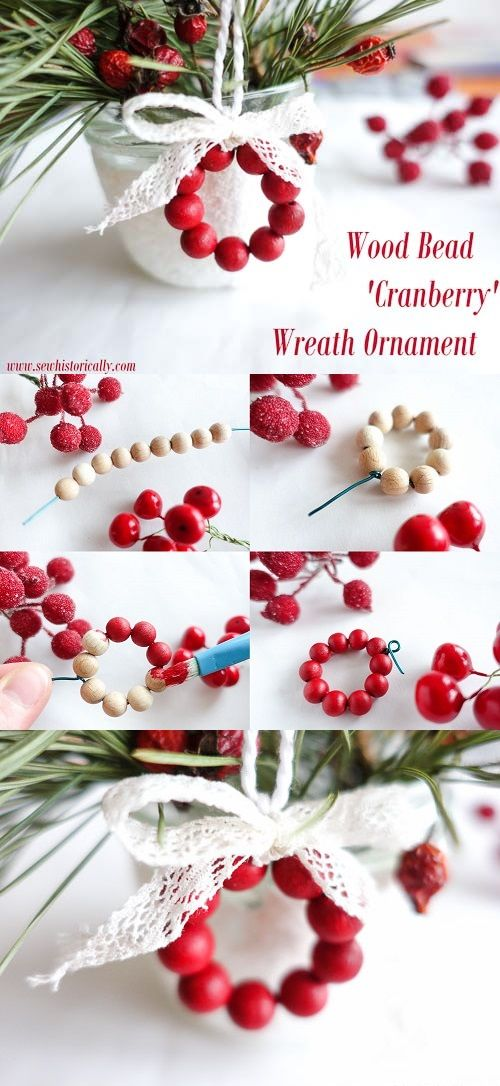 DIY Faux Cranberry Wreath Ornament With Wood Beads