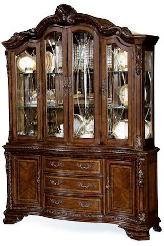 A R T Furniture Old World Formal China Cabinet With Gl Shelving