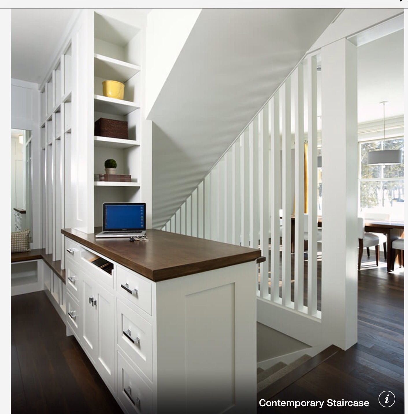 Open stairs to basement   I love the built ins …   Stairs ...