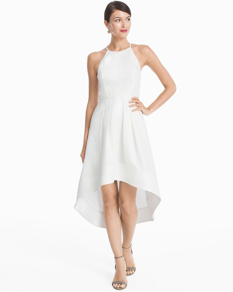 White High Low Halter Fit And Flare Dress Whbm