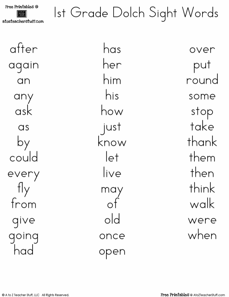 picture relating to 1st Grade Sight Words Printable named No cost printables Dolch 1st Quality Sight Terms Examining Suggestions