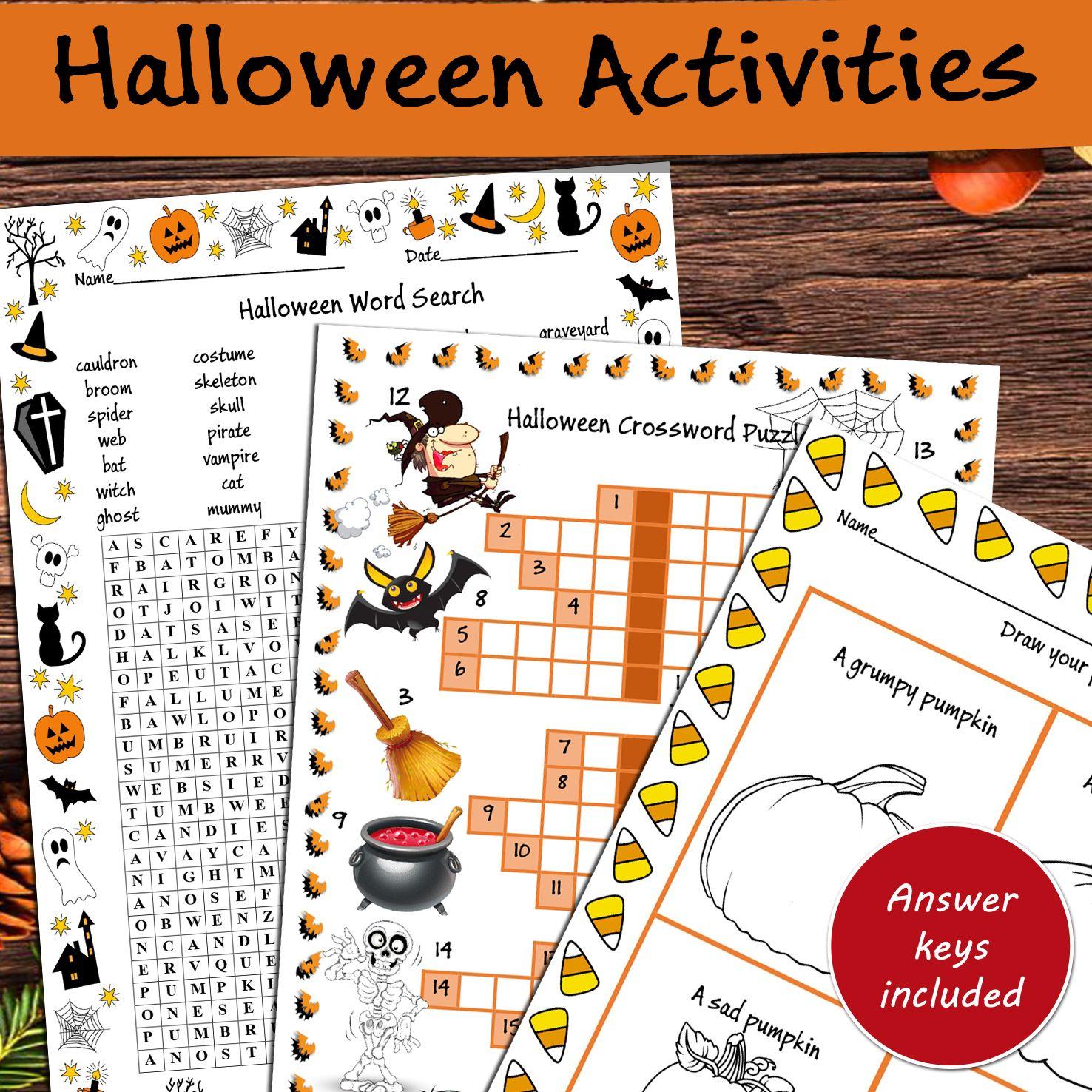 Halloween Activities Wordsearch Crossword Puzzle Word Search